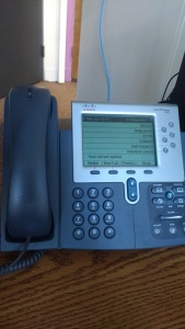 an office phone on a desk